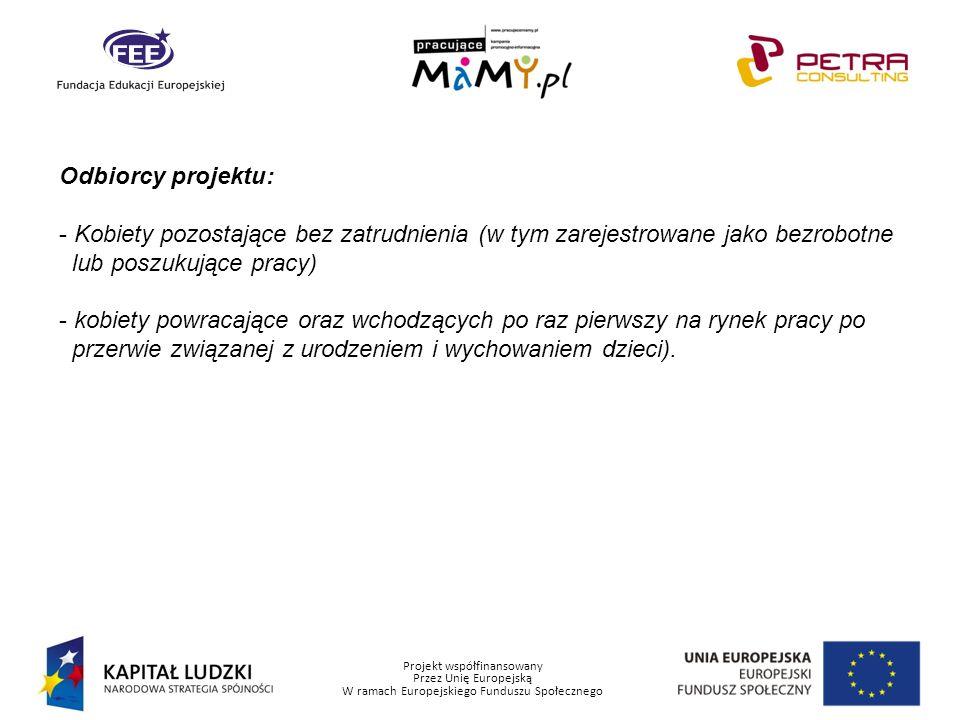 Projekt współfinansowany Przez Unię Europejską W ramach Europejskiego Funduszu Społecznego Harmonogram i działania: Zadanie 1.