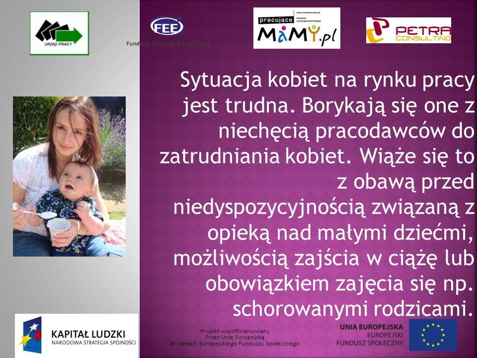 Projekt współfinansowany Przez Unię Europejską W ramach Europejskiego Funduszu Społecznego Sytuacja kobiet na rynku pracy jest trudna.