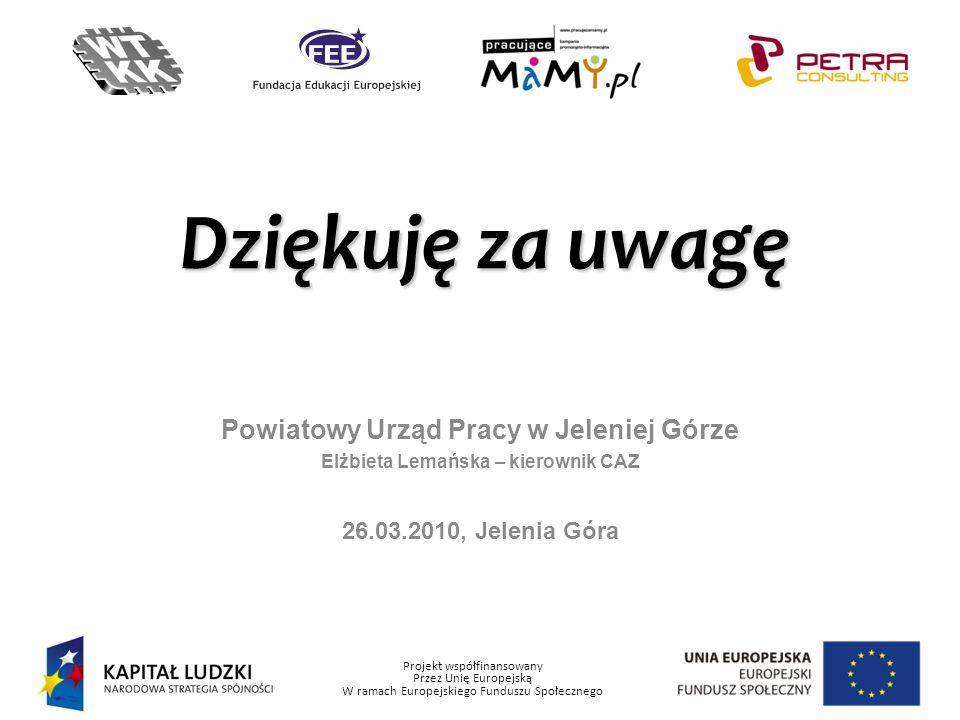 Projekt współfinansowany Przez Unię Europejską W ramach Europejskiego Funduszu Społecznego Powiatowy Urząd Pracy w Jeleniej Górze Elżbieta Lemańska –