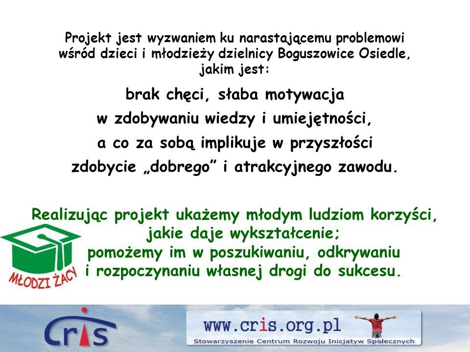 Projekt jest wyzwaniem ku narastającemu problemowi wśród dzieci i młodzieży dzielnicy Boguszowice Osiedle, jakim jest: brak chęci, słaba motywacja w zdobywaniu wiedzy i umiejętności, a co za sobą implikuje w przyszłości zdobycie dobrego i atrakcyjnego zawodu.