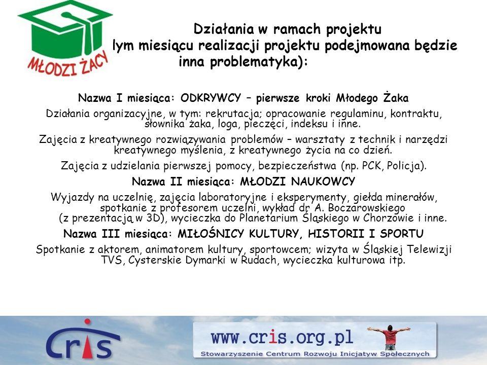 Nazwa IV miesiąca: MŁODZI DEMOKRACI Wizyta w Sejmie RP w Warszawie, spotkanie z Posłem na Sejm RP, wizyta w Urzędzie Miasta Rybnika i w Starostwie Powiatowym w Rybniku.