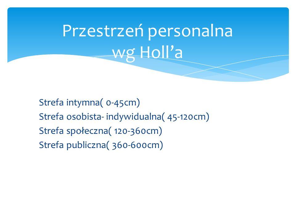 Strefa intymna( 0-45cm) Strefa osobista- indywidualna( 45-120cm) Strefa społeczna( 120-360cm) Strefa publiczna( 360-600cm) Przestrzeń personalna wg Ho