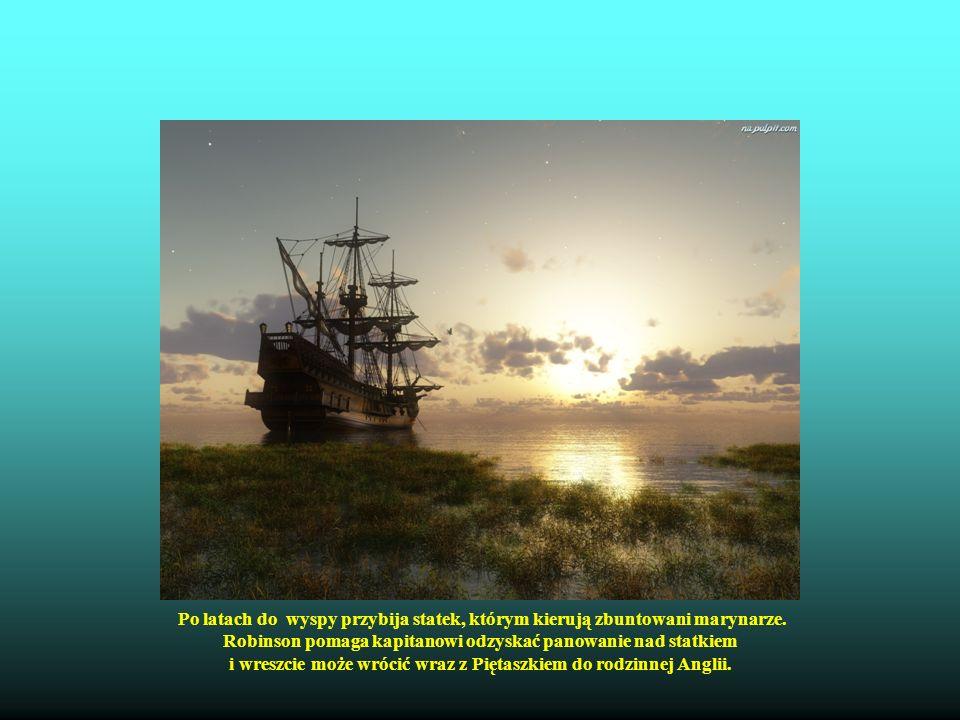Po latach do wyspy przybija statek, którym kierują zbuntowani marynarze. Robinson pomaga kapitanowi odzyskać panowanie nad statkiem i wreszcie może wr