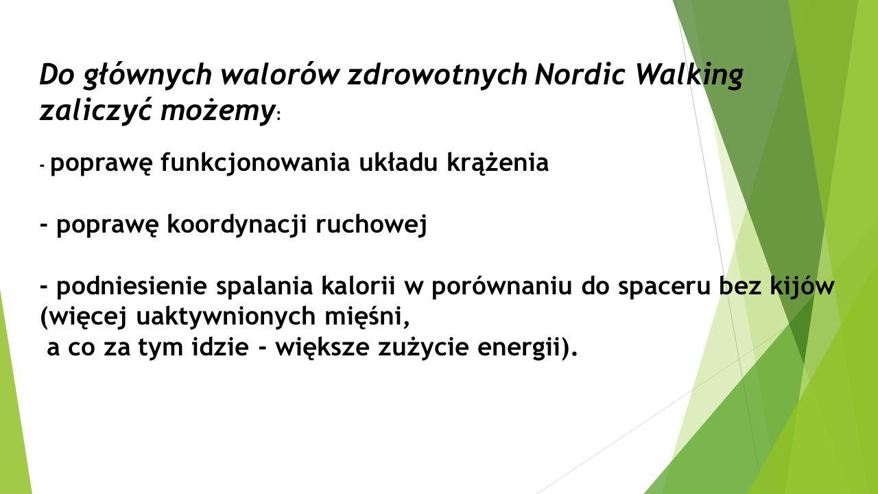 Do głównych walorów zdrowotnych Nordic Walking zaliczyć możemy : - poprawę funkcjonowania układu krążenia - poprawę koordynacji ruchowej - podniesieni