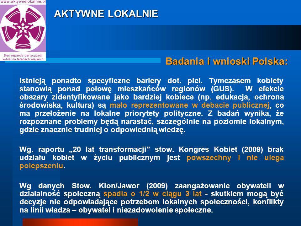 Badania i wnioski Polska: Istnieją ponadto specyficzne bariery dot.