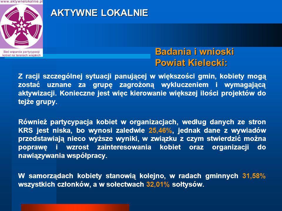 Badania i wnioski Powiat Kielecki: Z racji szczególnej sytuacji panującej w większości gmin, kobiety mogą zostać uznane za grupę zagrożoną wykluczeniem i wymagającą aktywizacji.