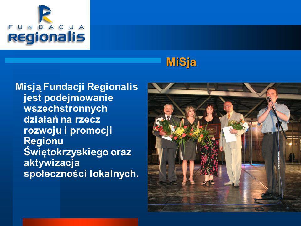 MiSja Misją Fundacji Regionalis jest podejmowanie wszechstronnych działań na rzecz rozwoju i promocji Regionu Świętokrzyskiego oraz aktywizacja społeczności lokalnych.