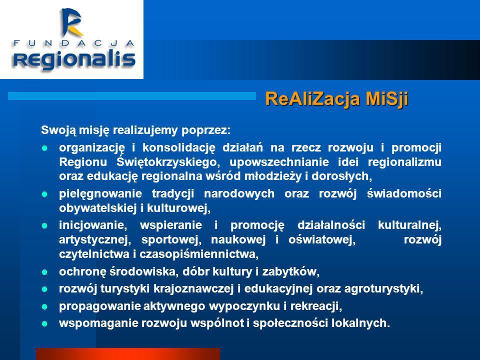 ReAliZacja MiSji Swoją misję realizujemy poprzez: organizację i konsolidację działań na rzecz rozwoju i promocji Regionu Świętokrzyskiego, upowszechnianie idei regionalizmu oraz edukację regionalna wśród młodzieży i dorosłych, pielęgnowanie tradycji narodowych oraz rozwój świadomości obywatelskiej i kulturowej, inicjowanie, wspieranie i promocję działalności kulturalnej, artystycznej, sportowej, naukowej i oświatowej, rozwój czytelnictwa i czasopiśmiennictwa, ochronę środowiska, dóbr kultury i zabytków, rozwój turystyki krajoznawczej i edukacyjnej oraz agroturystyki, propagowanie aktywnego wypoczynku i rekreacji, wspomaganie rozwoju wspólnot i społeczności lokalnych.