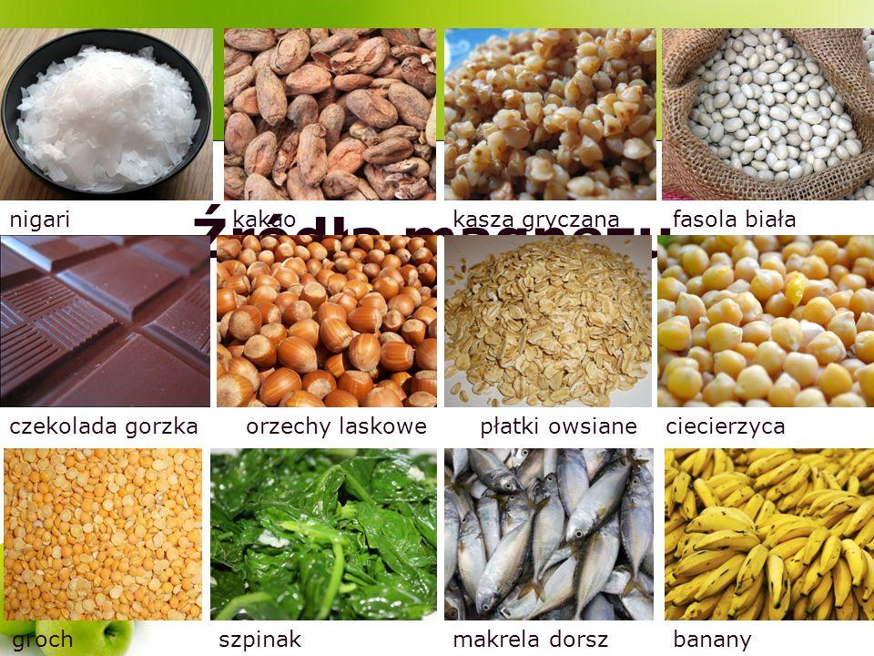 Źródła magnezu nigarifasola białakasza gryczanakakao czekolada gorzkaorzechy laskowepłatki owsianeciecierzyca grochbananymakrela dorszszpinak