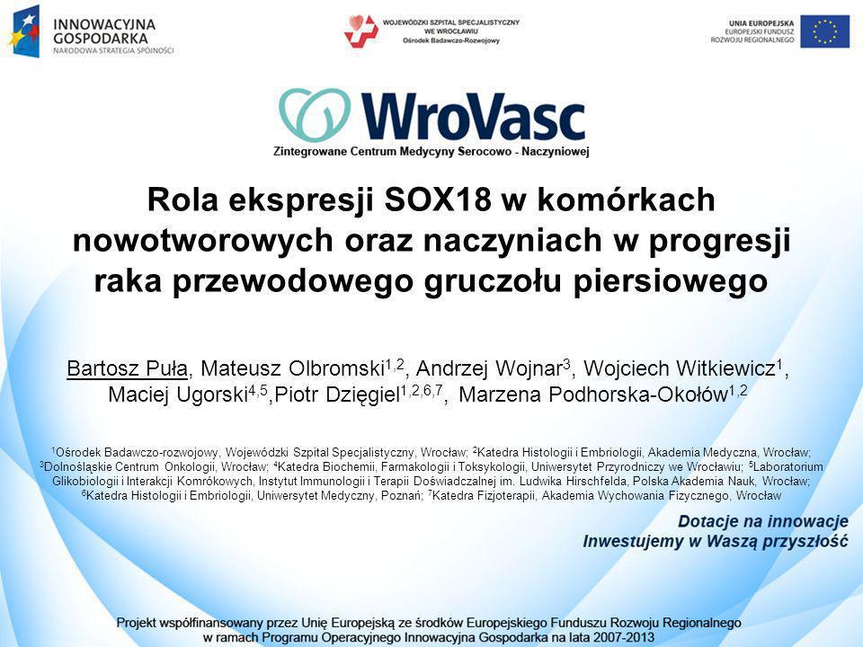 Rola ekspresji SOX18 w komórkach nowotworowych oraz naczyniach w progresji raka przewodowego gruczołu piersiowego Bartosz Puła, Mateusz Olbromski 1,2,