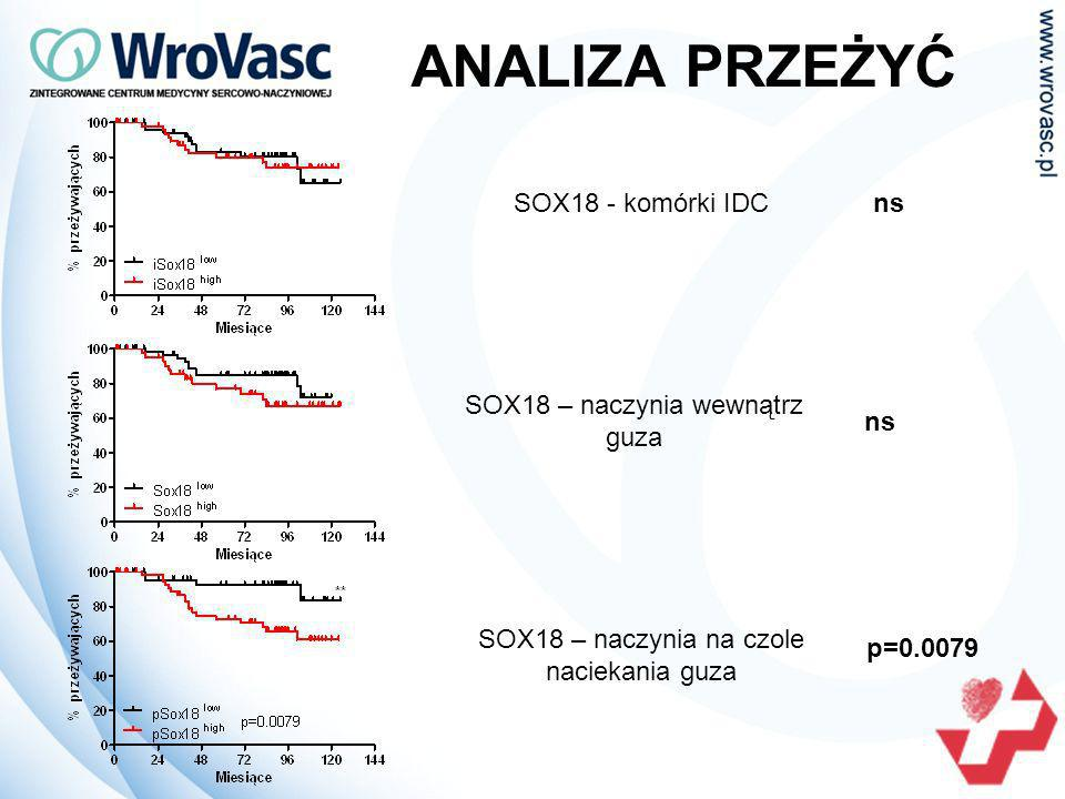 SOX18 - komórki IDCns SOX18 – naczynia wewnątrz guza ns SOX18 – naczynia na czole naciekania guza p=0.0079 ANALIZA PRZEŻYĆ