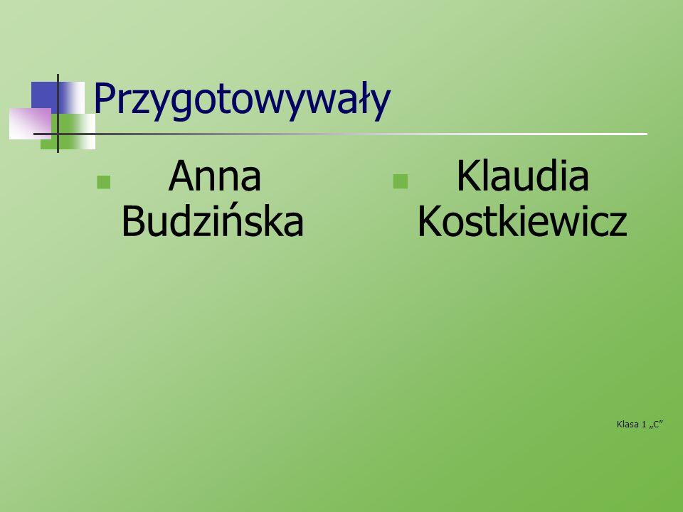 Przygotowywały Anna Budzińska Klaudia Kostkiewicz Klasa 1 C