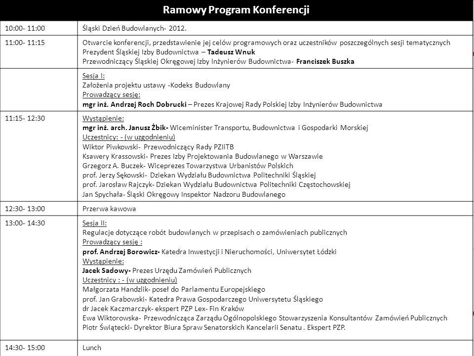 Katowice, 21 maja 2012r. Ramowy Program Konferencji 10:00- 11:00Śląski Dzień Budowlanych- 2012. 11:00- 11:15Otwarcie konferencji, przedstawienie jej c