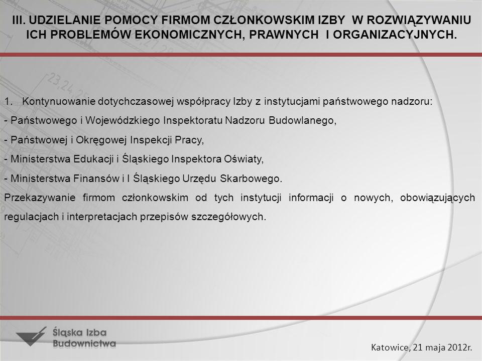 Katowice, 21 maja 2012r. III. UDZIELANIE POMOCY FIRMOM CZŁONKOWSKIM IZBY W ROZWIĄZYWANIU ICH PROBLEMÓW EKONOMICZNYCH, PRAWNYCH I ORGANIZACYJNYCH. 1. K
