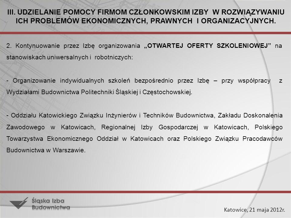 Katowice, 21 maja 2012r. 2. Kontynuowanie przez Izbę organizowania OTWARTEJ OFERTY SZKOLENIOWEJ na stanowiskach uniwersalnych i robotniczych: - Organi