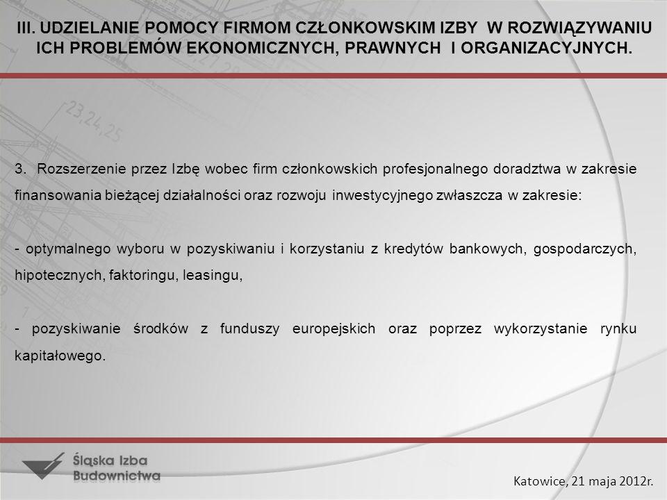 Katowice, 21 maja 2012r. 3. Rozszerzenie przez Izbę wobec firm członkowskich profesjonalnego doradztwa w zakresie finansowania bieżącej działalności o