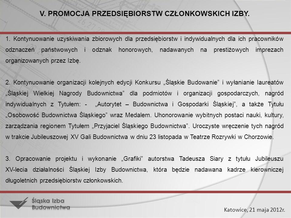 Katowice, 21 maja 2012r. V. PROMOCJA PRZEDSIĘBIORSTW CZŁONKOWSKICH IZBY. 1. Kontynuowanie uzyskiwania zbiorowych dla przedsiębiorstw i indywidualnych