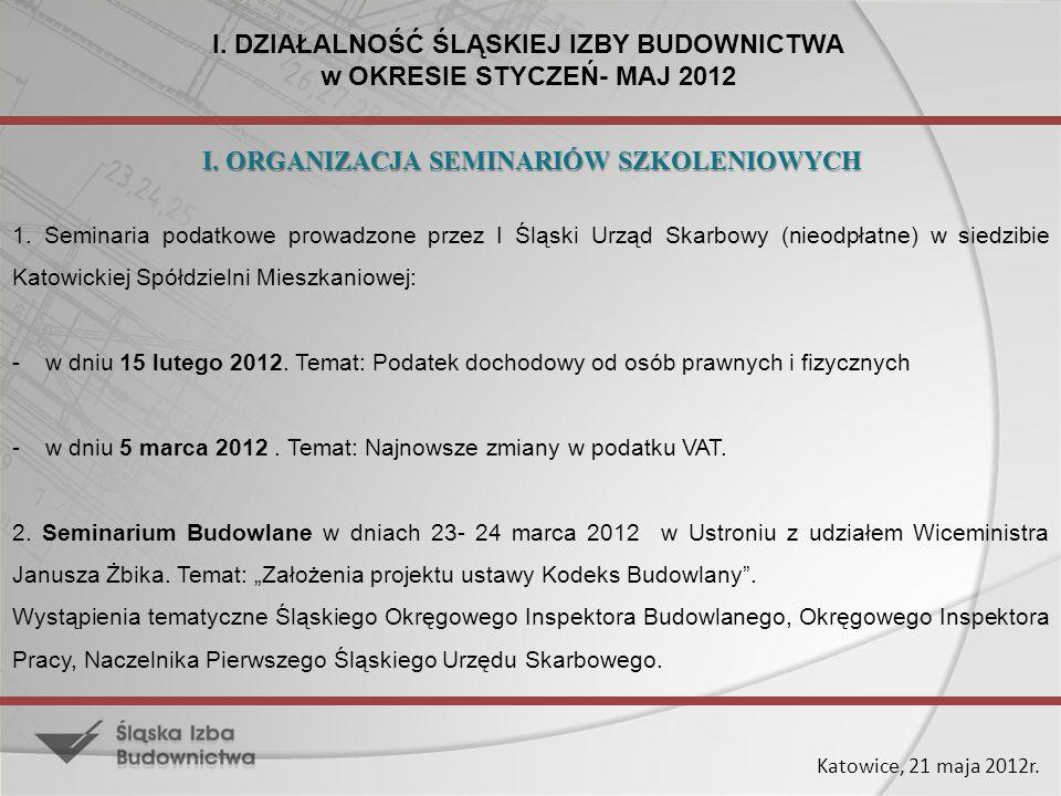 Katowice, 21 maja 2012r. I. DZIAŁALNOŚĆ ŚLĄSKIEJ IZBY BUDOWNICTWA w OKRESIE STYCZEŃ- MAJ 2012 1. Seminaria podatkowe prowadzone przez I Śląski Urząd S