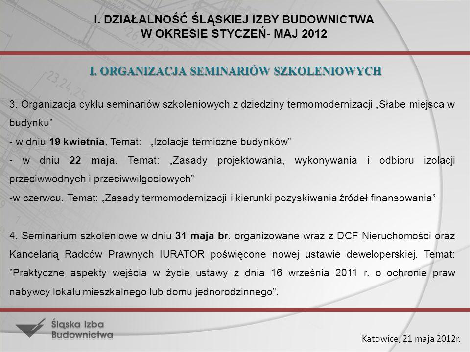 Katowice, 21 maja 2012r. 3. Organizacja cyklu seminariów szkoleniowych z dziedziny termomodernizacji Słabe miejsca w budynku - w dniu 19 kwietnia. Tem