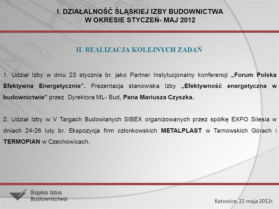 Katowice, 21 maja 2012r. 1. Udział Izby w dniu 23 stycznia br. jako Partner Instytucjonalny konferencji Forum Polska Efektywna Energetycznie. Prezenta