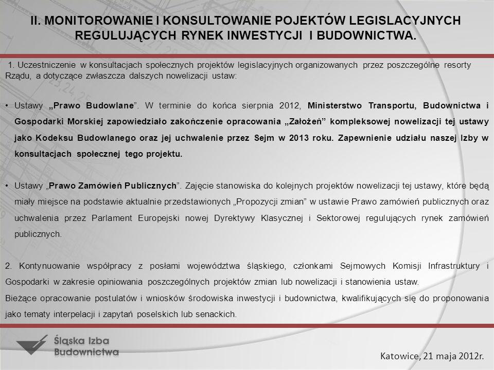 Katowice, 21 maja 2012r. 1. Uczestniczenie w konsultacjach społecznych projektów legislacyjnych organizowanych przez poszczególne resorty Rządu, a dot