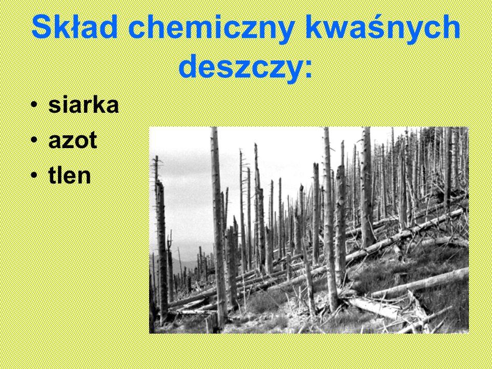 Skład chemiczny kwaśnych deszczy: siarka azot tlen