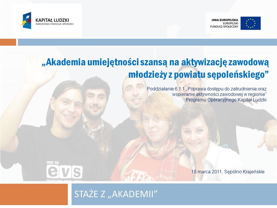 STAŻE Z AKADEMII Akademia umiejętności szansą na aktywizację zawodową młodzieży z powiatu sępoleńskiego Poddziałanie 6.1.1.Poprawa dostępu do zatrudni