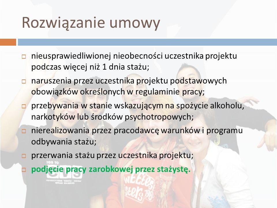 Rozwiązanie umowy nieusprawiedliwionej nieobecności uczestnika projektu podczas więcej niż 1 dnia stażu; naruszenia przez uczestnika projektu podstawo