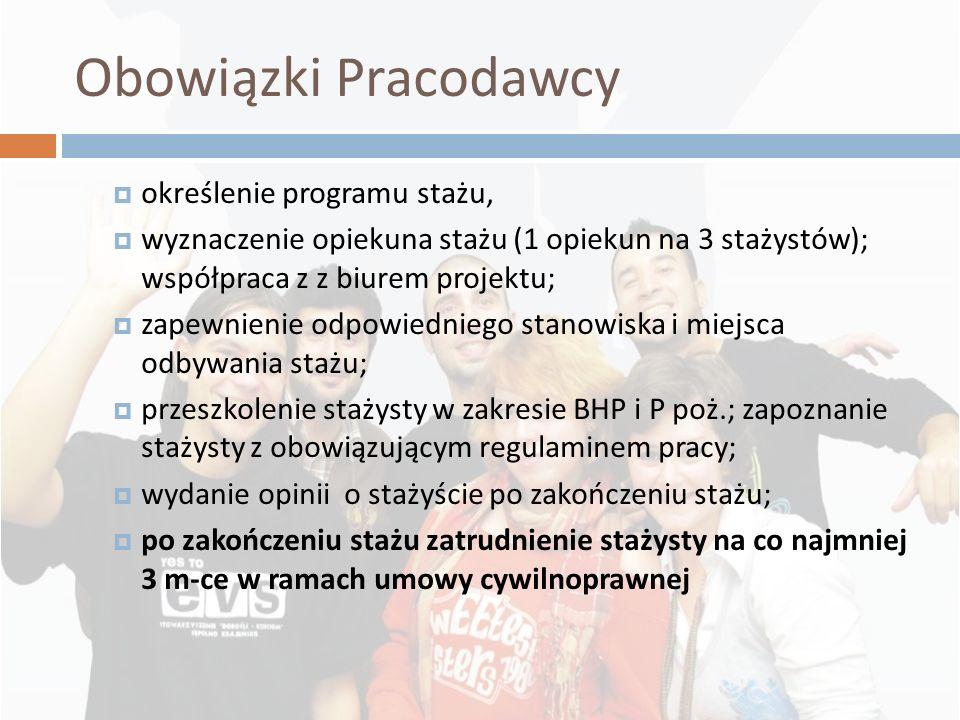 Obowiązki Pracodawcy określenie programu stażu, wyznaczenie opiekuna stażu (1 opiekun na 3 stażystów); współpraca z z biurem projektu; zapewnienie odp