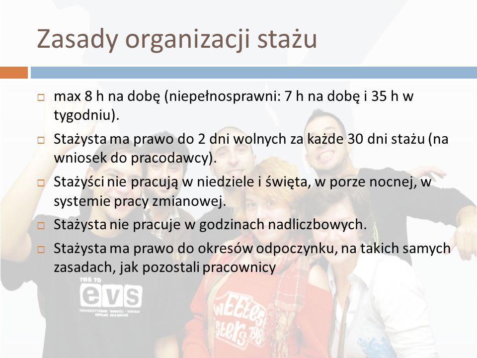 Zasady organizacji stażu max 8 h na dobę (niepełnosprawni: 7 h na dobę i 35 h w tygodniu). Stażysta ma prawo do 2 dni wolnych za każde 30 dni stażu (n