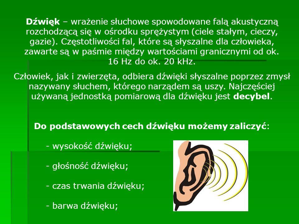 Dźwięk – wrażenie słuchowe spowodowane falą akustyczną rozchodzącą się w ośrodku sprężystym (ciele stałym, cieczy, gazie). Częstotliwości fal, które s
