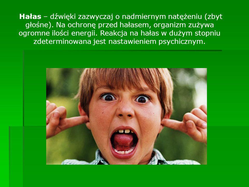 Hałas – dźwięki zazwyczaj o nadmiernym natężeniu (zbyt głośne). Na ochronę przed hałasem, organizm zużywa ogromne ilości energii. Reakcja na hałas w d