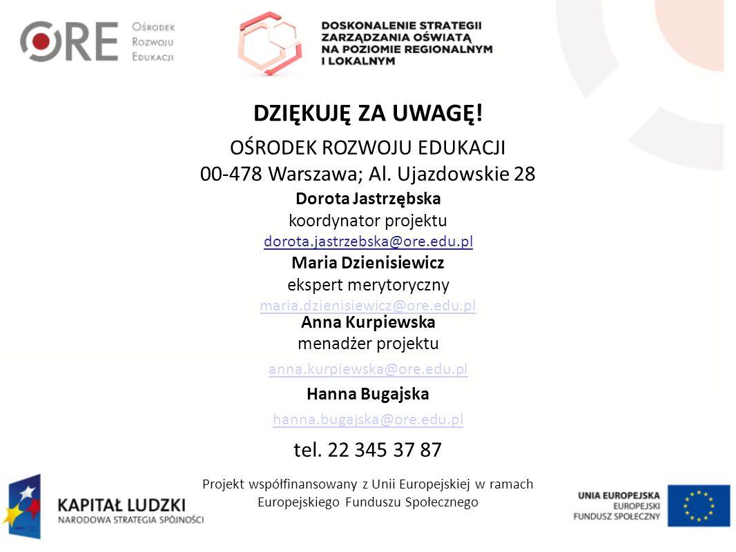 DZIĘKUJĘ ZA UWAGĘ! OŚRODEK ROZWOJU EDUKACJI 00-478 Warszawa; Al. Ujazdowskie 28 Dorota Jastrzębska koordynator projektu dorota.jastrzebska@ore.edu.pl