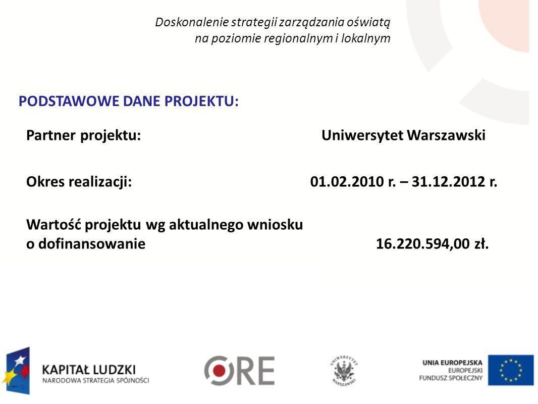 Doskonalenie strategii zarządzania oświatą na poziomie regionalnym i lokalnym Partner projektu: Uniwersytet Warszawski Okres realizacji: 01.02.2010 r.