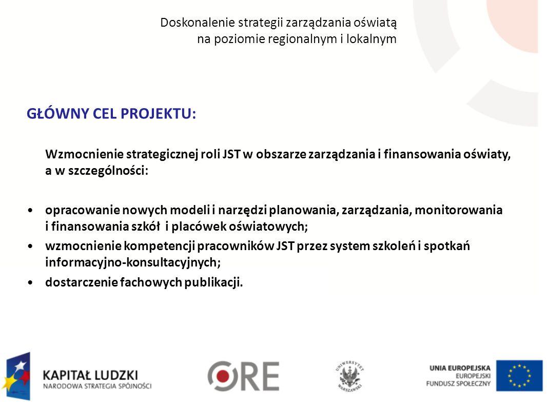 Wzmocnienie strategicznej roli JST w obszarze zarządzania i finansowania oświaty, a w szczególności: opracowanie nowych modeli i narzędzi planowania,