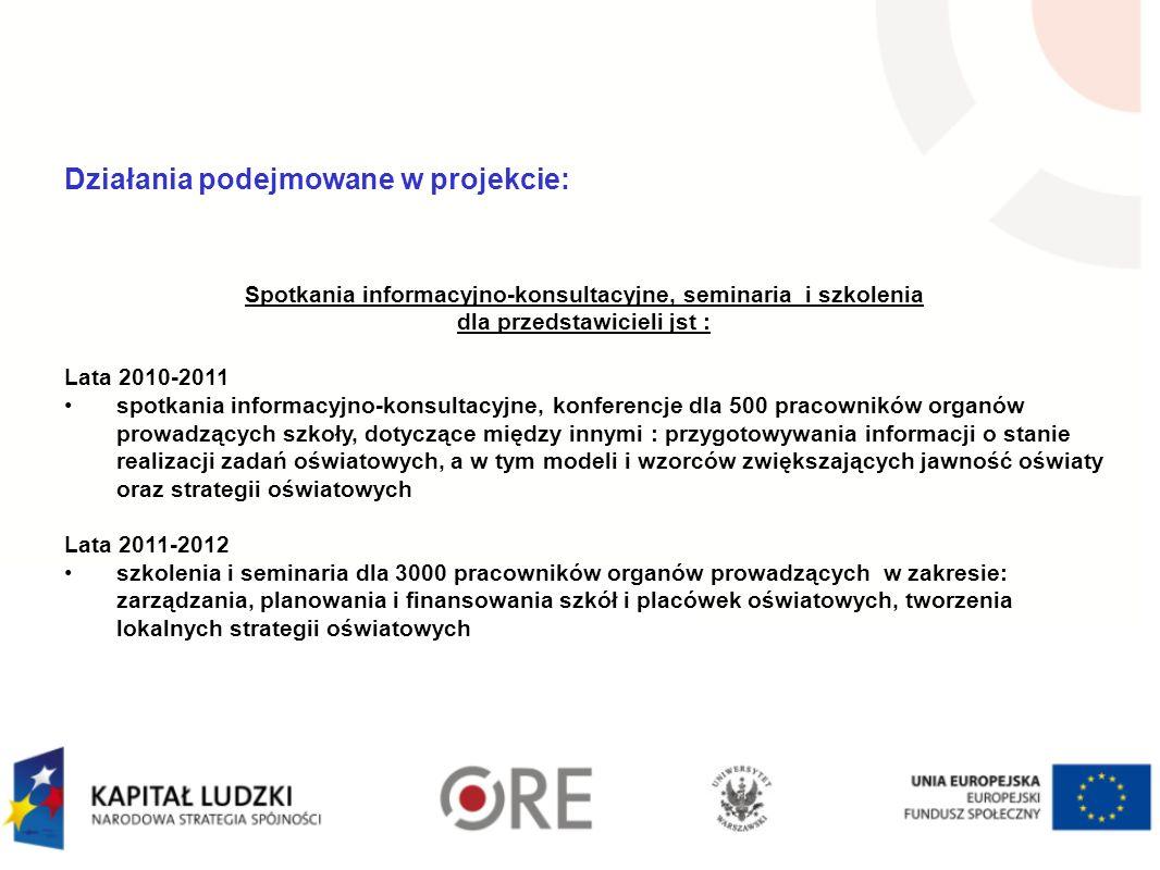 Działania podejmowane w projekcie: Spotkania informacyjno-konsultacyjne, seminaria i szkolenia dla przedstawicieli jst : Lata 2010-2011 spotkania info