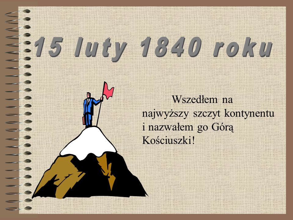 Wszedłem na najwyższy szczyt kontynentu i nazwałem go Górą Kościuszki!