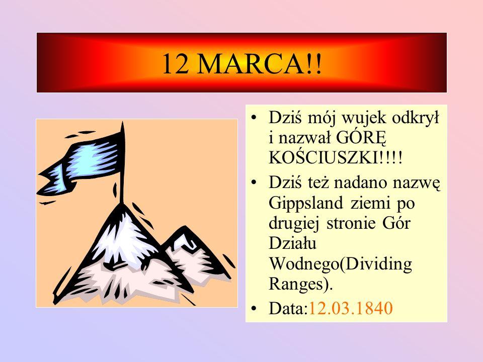 12 MARCA!.Dziś mój wujek odkrył i nazwał GÓRĘ KOŚCIUSZKI!!!.