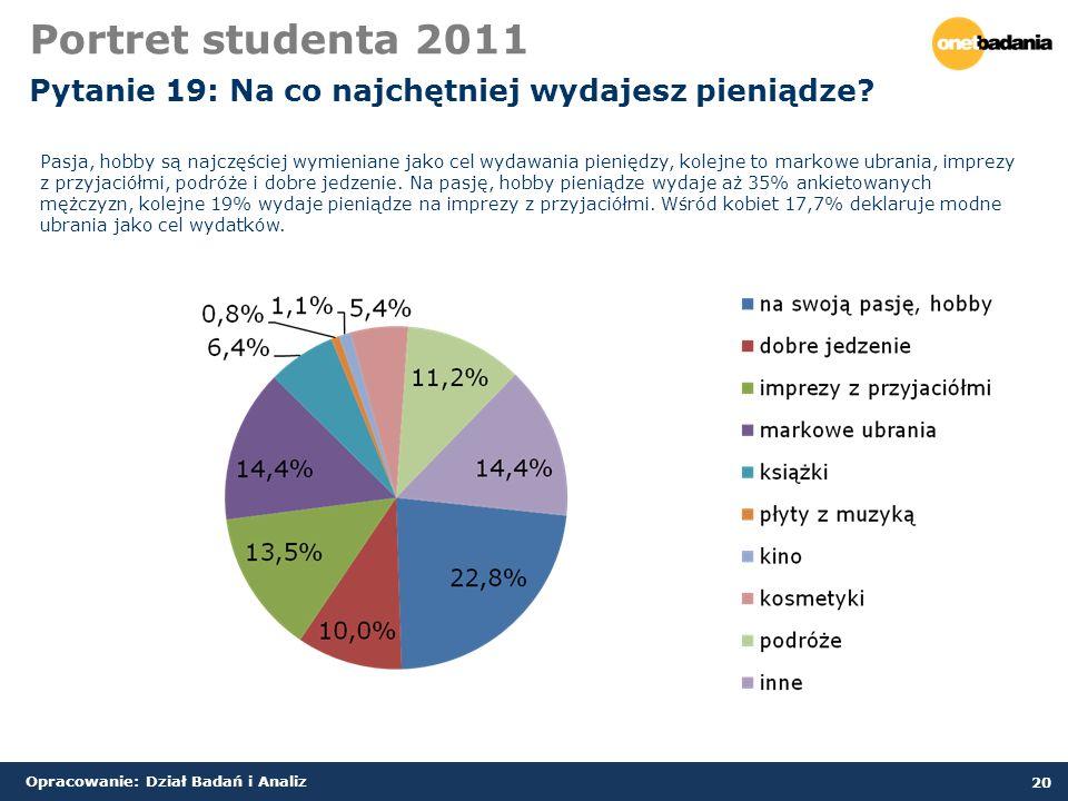 Opracowanie: Dział Badań i Analiz 20 Portret studenta 2011 Pytanie 19: Na co najchętniej wydajesz pieniądze.