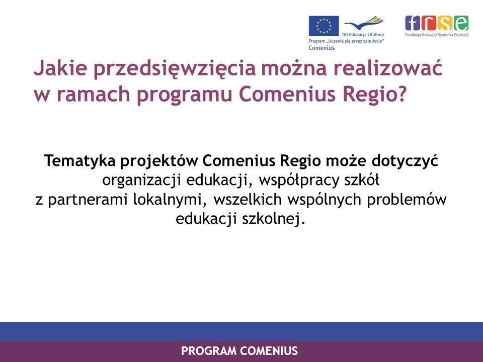 Jakie przedsięwzięcia można realizować w ramach programu Comenius Regio.
