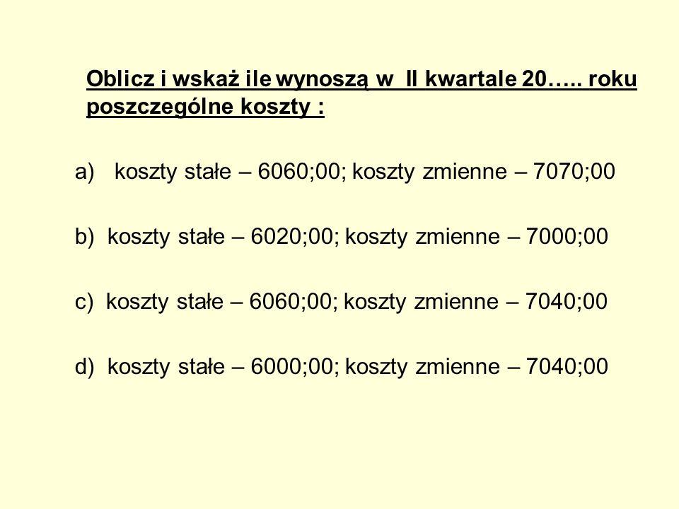 Oblicz i wskaż ile wynoszą w II kwartale 20….. roku poszczególne koszty : a)koszty stałe – 6060;00; koszty zmienne – 7070;00 b) koszty stałe – 6020;00