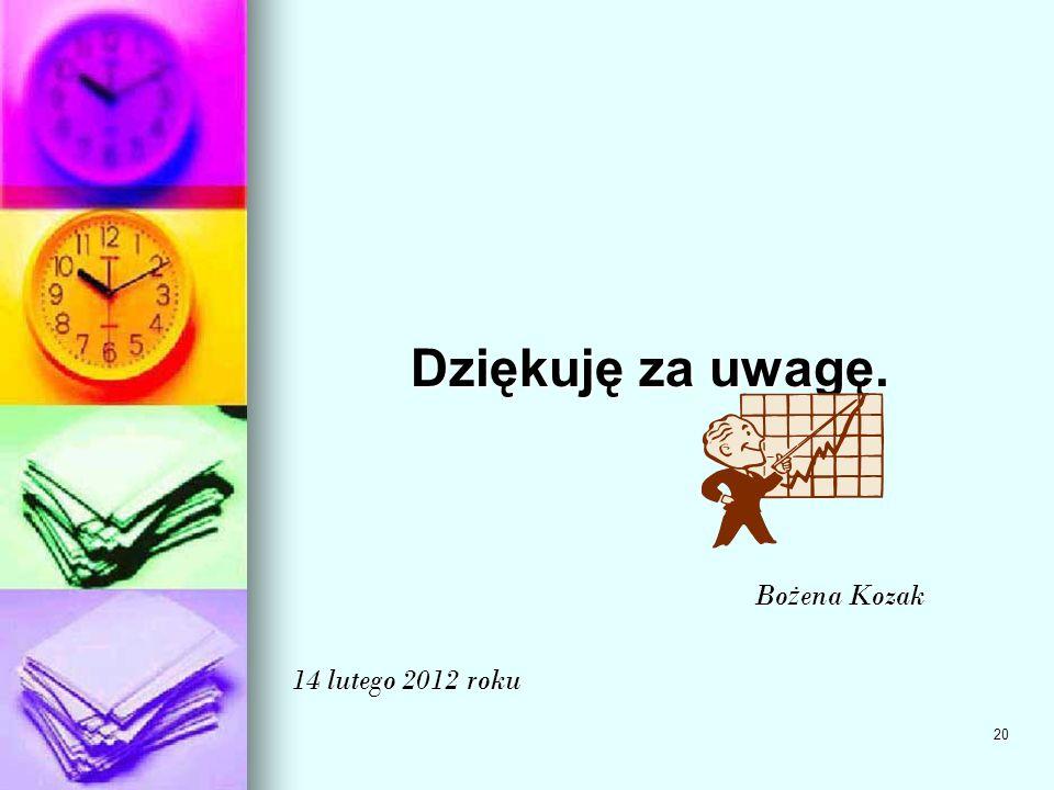 20 Dziękuję za uwagę. Bo ż ena Kozak Bo ż ena Kozak 14 lutego 2012 roku
