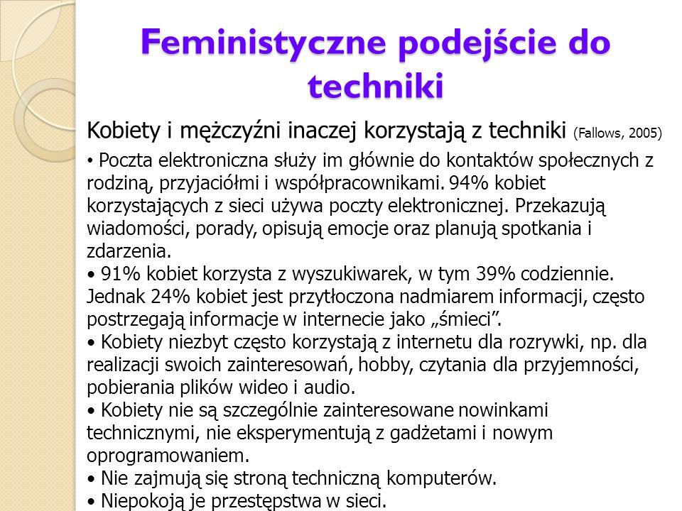 Feministyczne podejście do techniki Kobiety i mężczyźni inaczej korzystają z techniki (Fallows, 2005) Poczta elektroniczna służy im głównie do kontakt