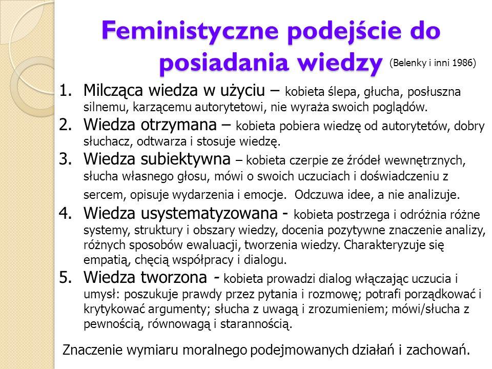 Feministyczne podejście do posiadania wiedzy 1.Milcząca wiedza w użyciu – kobieta ślepa, głucha, posłuszna silnemu, karzącemu autorytetowi, nie wyraża