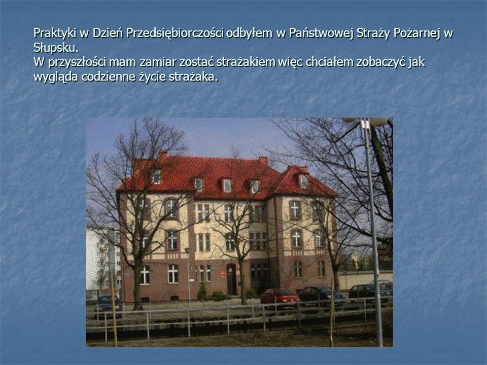 Praktyki w Dzień Przedsiębiorczości odbyłem w Państwowej Straży Pożarnej w Słupsku.