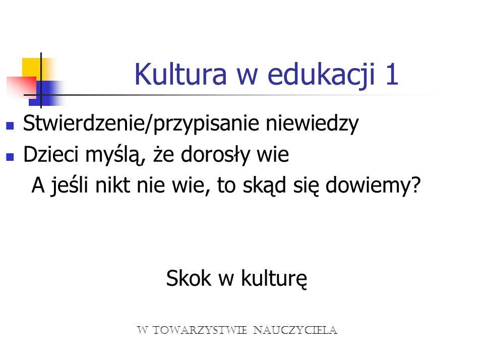 Kultura w edukacji 1 Stwierdzenie/przypisanie niewiedzy Dzieci myślą, że dorosły wie A jeśli nikt nie wie, to skąd się dowiemy? Skok w kulturę w towar