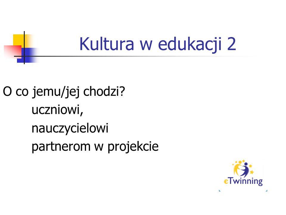 Kultura w edukacji 2 O co jemu/jej chodzi? uczniowi, nauczycielowi partnerom w projekcie