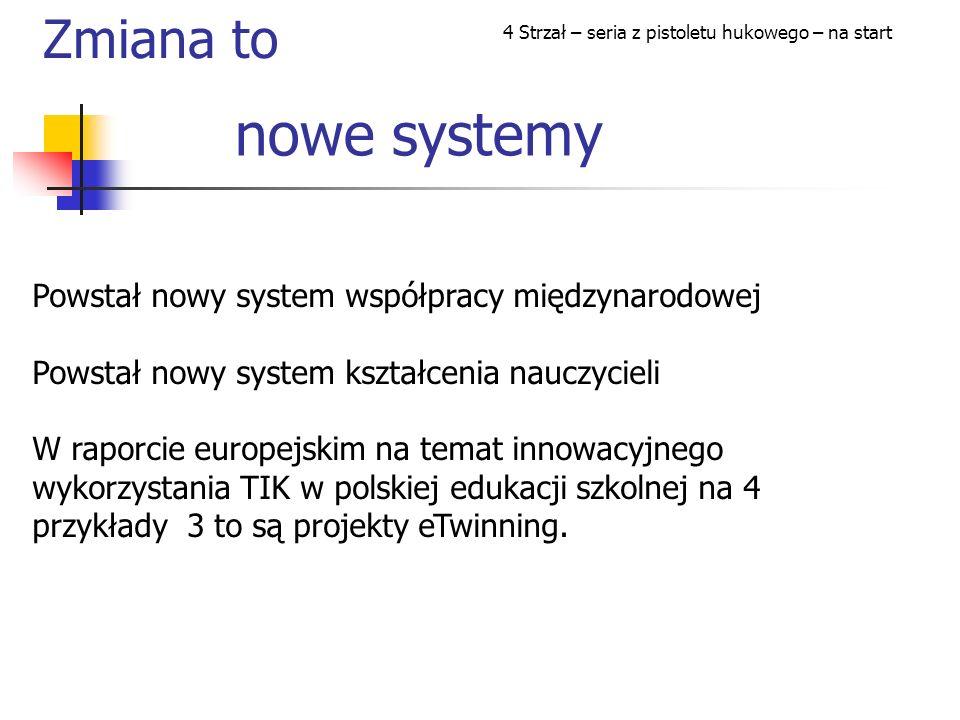 nowe systemy Powstał nowy system współpracy międzynarodowej Powstał nowy system kształcenia nauczycieli W raporcie europejskim na temat innowacyjnego wykorzystania TIK w polskiej edukacji szkolnej na 4 przykłady 3 to są projekty eTwinning.