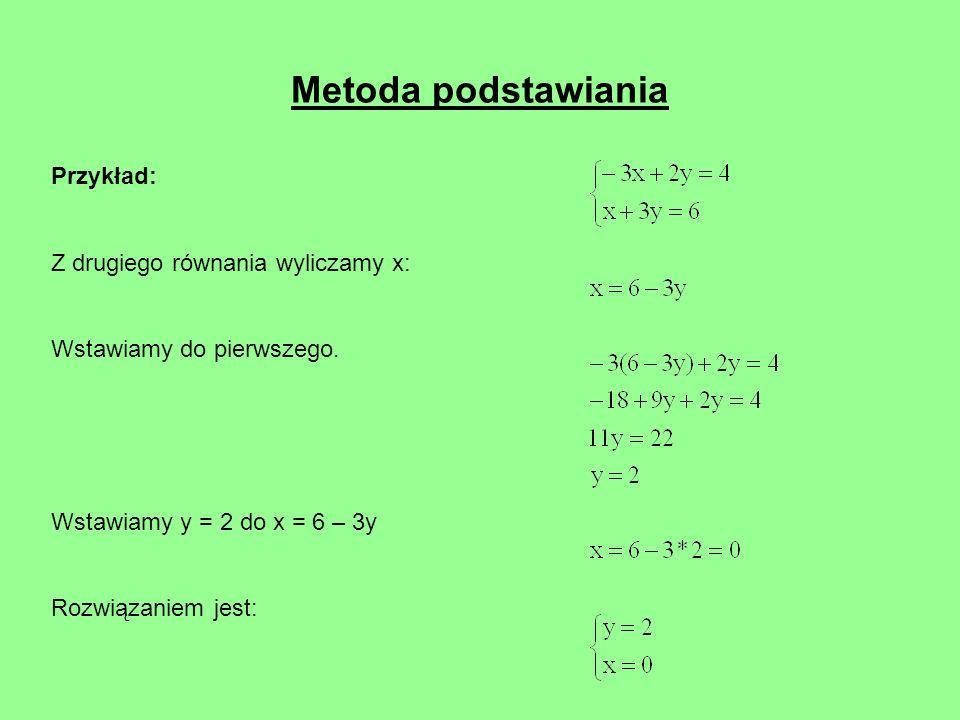Metoda podstawiania Przykład: Z drugiego równania wyliczamy x: Wstawiamy do pierwszego. Wstawiamy y = 2 do x = 6 – 3y Rozwiązaniem jest: