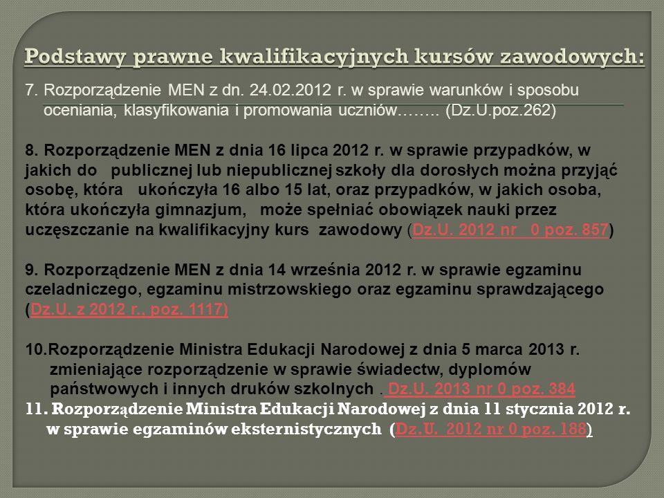 7. Rozporządzenie MEN z dn. 24.02.2012 r. w sprawie warunków i sposobu oceniania, klasyfikowania i promowania uczniów…….. (Dz.U.poz.262) 8. Rozporządz